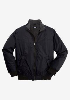 Fleece-Lined Bomber Jacket, BLACK