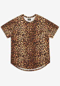 MVP Collections® Animal Print Curved Hem Tee,