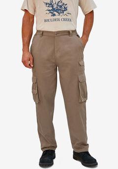 Boulder Creek® Side-Elastic Stacked Cargo Pocket Pants, DARK BROWN
