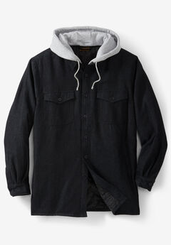 Removable Hood Shirt Jacket by Boulder Creek®, BLACK DENIM