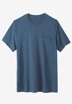 Lightweight Longer-Length Crewneck Pocket T-Shirt, HEATHER SLATE BLUE