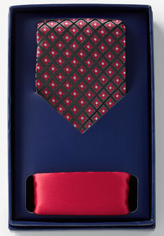 Tie and Pocket Square Gift Set, RED GEOMETRIC TIE