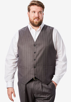 KS Signature Easy Movement® 5-Button Suit Vest, GREY PINSTRIPE
