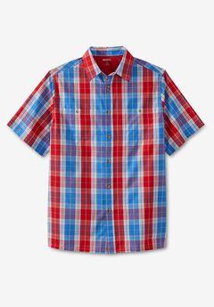 Short-Sleeve Plaid Sport Shirt, RED PLAID