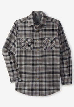 Plaid Flannel Shirt, BLACK PLAID