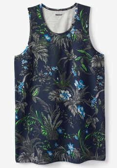 Tropical Print Lightweight Tank, NAVY ISLAND