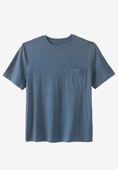 Shrink-Less™ Lightweight Pocket Crewneck T-Shirt, HEATHER SLATE BLUE