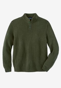 Henley Shaker Sweater, OLIVE