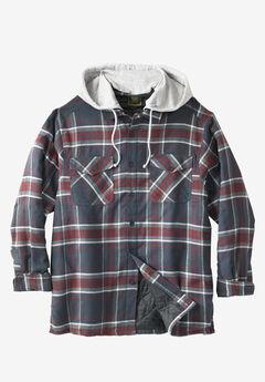 Removable Hood Shirt Jacket by Boulder Creek®, NAVY PLAID