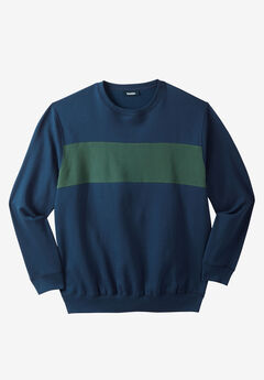 Colorblock Stripe Fleece Sweatshirt,