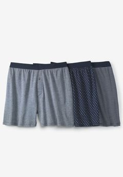 Cotton Boxers 3-Pack, ASSORTED NAVY PATTERN