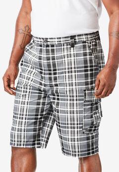 "10"" Cargo Shorts, BLACK PLAID"