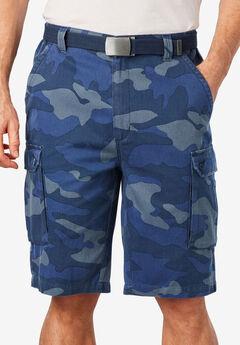 "12"" Side Elastic Cargo Short with Twill Belt, BLUE CAMO"