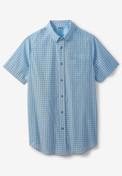 Short-Sleeve Sport Shirt, COOL BLUE CHECK