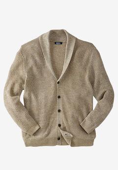Shaker Knit Shawl-Collar Cardigan Sweater, KHAKI MARL