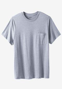 Lightweight Longer-Length Crewneck Pocket T-Shirt, HEATHER GREY