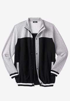 Coaches Collection Baseball-Inspired Jacket, BLACK