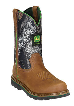 "John Deere 11"" Pull-On Camo Steel Toe Boots,"