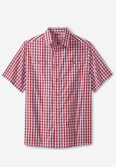 Short-Sleeve Plaid Sport Shirt, TRUE RED CHECK