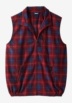 Explorer Fleece Zip Vest, RICH BURGUNDY PLAID