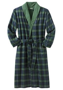 Jersey-Lined Flannel Robe, BALSAM PLAID