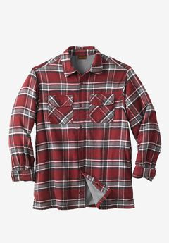 Fleece-Lined Flannel Shirt Jacket by Boulder Creek®, RICH BURGUNDY PLAID