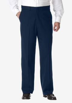 KS Signature No Hassle® Classic Fit Expandable Waist Plain Front Dress Pants, NAVY