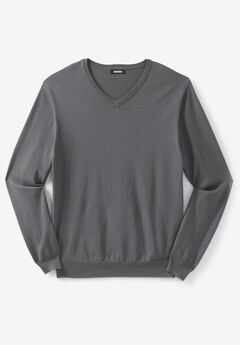 Pima V-Neck Sweater, STEEL