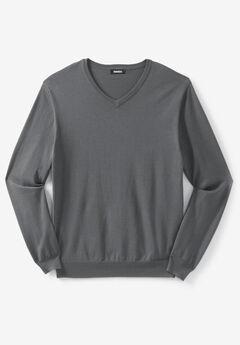 Pima V-Neck Sweater, STEEL
