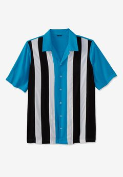 Short-Sleeve Colorblock Rayon Shirt, ELECTRIC TURQUOISE COLORBLOCK