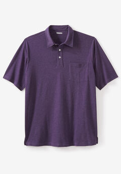 Lightweight Polo T-Shirt, HEATHER DARK PURPLE