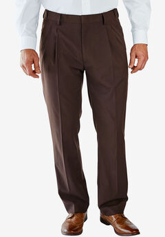 KS Signature No Hassle® Classic Fit Expandable Waist Double-Pleat Dress Pants, BROWN