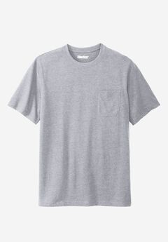 Lightweight Pocket Crewneck T-Shirt, HEATHER GREY