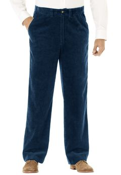 Six-Wale Corduroy Plain Front Pants, NAVY