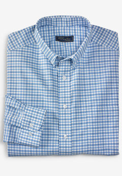 KS Signature Wrinkle-Resistant Oxford Dress Shirt, BLUE CHECK