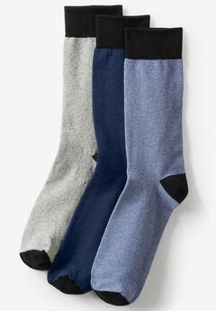 Contrast Dress Socks 3-Pack, NAVY BLUE