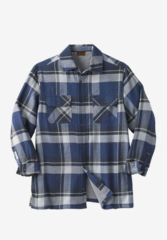 Fleece-Lined Flannel Shirt Jacket by Boulder Creek®, NAVY PLAID