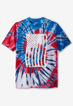 Tie-Dye Graphic Tee, AMERICAN FLAG TIE DYE