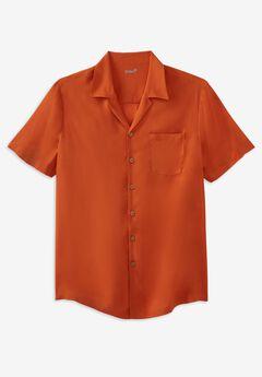 KS Island Solid Rayon Short-Sleeve Shirt,