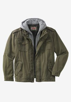 Canvas Hooded Military Jacket by Levi's®, OLIVE