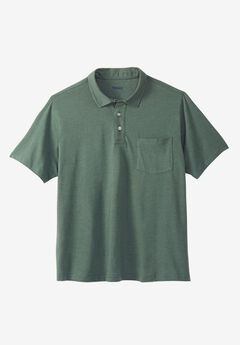 Lightweight Polo T-Shirt, HEATHER DEEP EMERALD