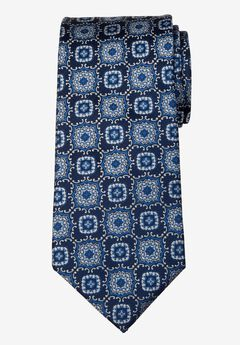 KS Signature Extra Long Classic Fancy Tie, NAVY MEDALLION
