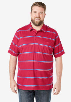 Lightweight Pocket Golf Polo Shirt, RED STRIPE