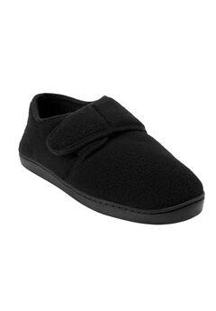 Velcro-Close Slippers, BLACK