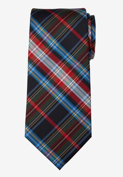 KS Signature Extra Long Classic Plaid Tie, BLACK MULTI PLAID