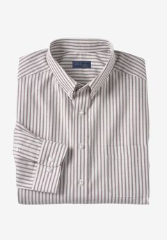 Wrinkle-Resistant Oxford Dress Shirt by KS Signature, LIGHT GREY STRIPE