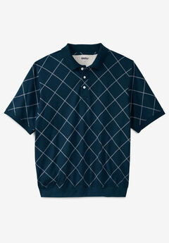 Printed Banded Bottom Polo, NAVY WINDOW PANE