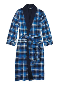 Jersey-Lined Flannel Robe, TWILIGHT PLAID