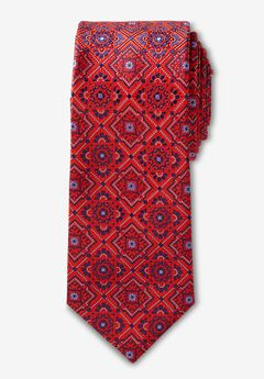 KS Signature Extra Long Classic Fancy Tie, DEEP RED MEDALLION