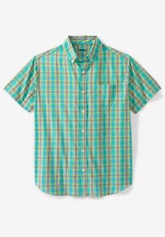 Short Sleeve Performance Sport Shirt, TIDAL GREEN PLAID